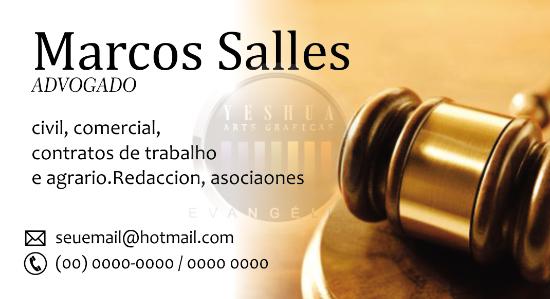 cartão de visitas martelo de advogado