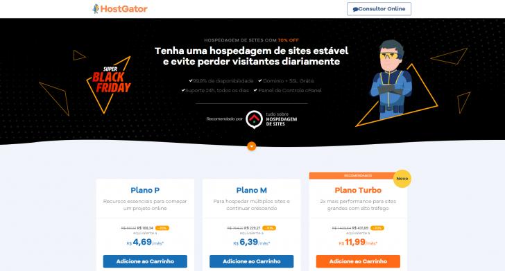 Página da promoção de Black Friday HostGator