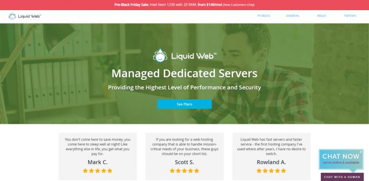 Promoção de servidores dedicados na Liquid Web durante a Black Friday