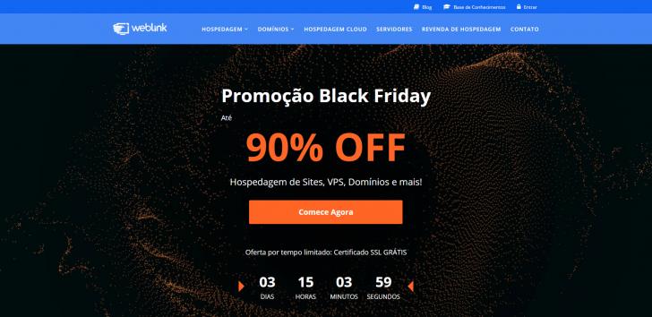 Site da WebLink com a chamada para as ofertas de Black Friday