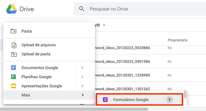 Utilize o recurso de formulários do Google para inserir um formulário no Google Sites