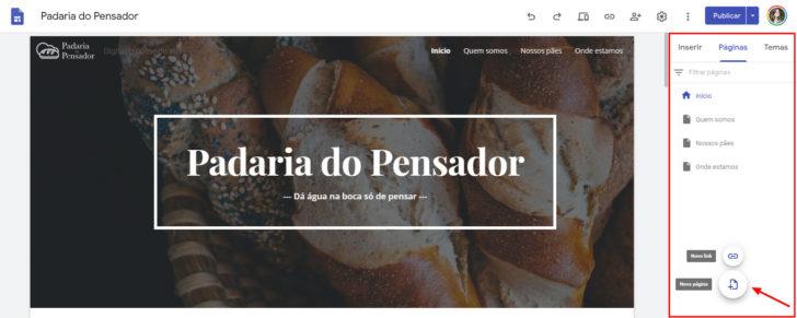 """A seção """"Páginas"""" é onde se cria uma nova página no Google Sites"""
