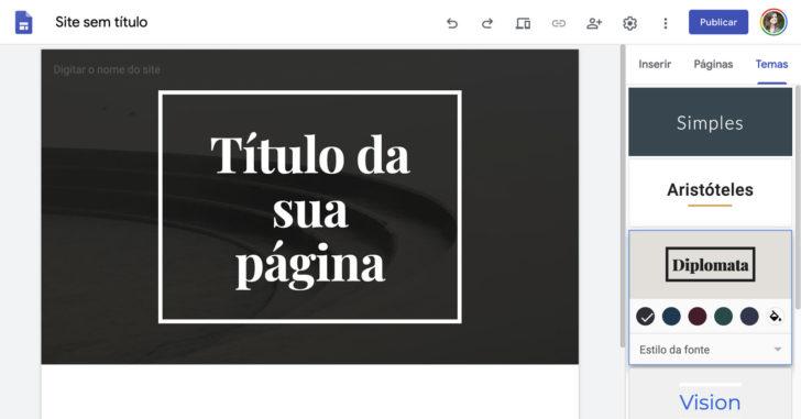 """Acesse a seção """"Temas"""" e escolha o visual que mais combina com o site que deseja criar"""