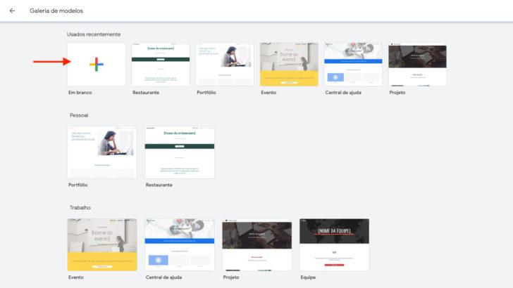 Galeria do Google Sites traz modelos prontos e em branco