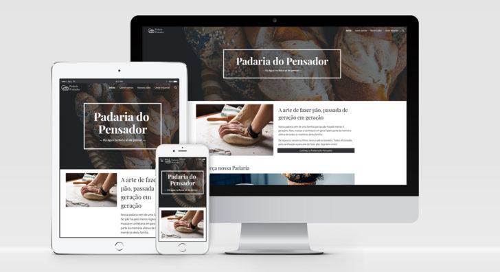 Montagem do site publicado e adaptado para os dispositivos smartphone, tablet e computador desktop