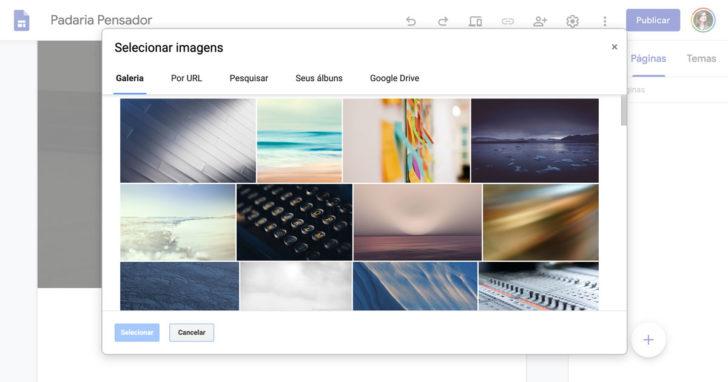Galeria de imagens do Google Sites