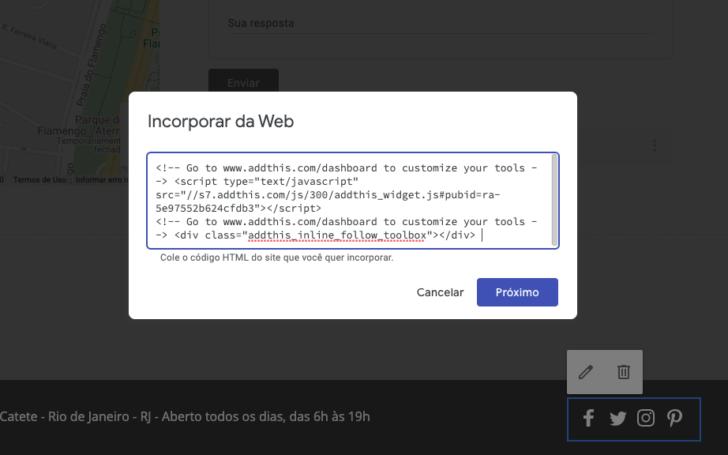 Janela de inserção de código HTML do Google Sites