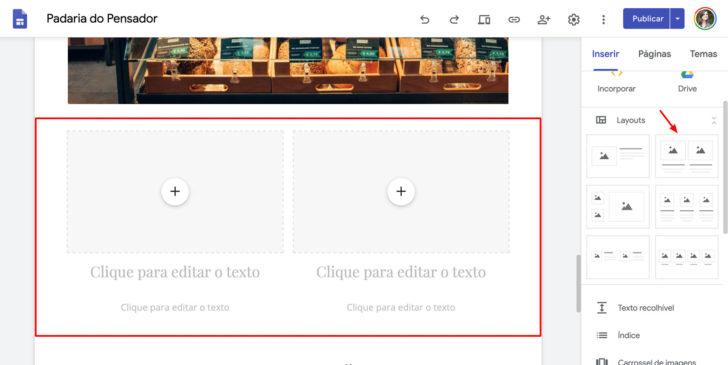 Para montar uma página, utilize os layouts prontos do Google Sites