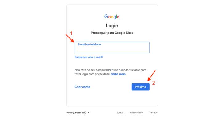 Tela de login Google - para acessar o Google Sites é preciso ter uma conta Google