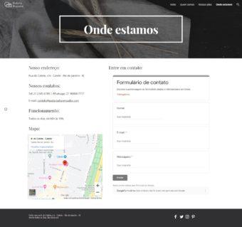 Página de contato do site fictício da padaria