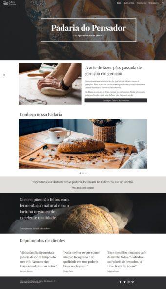 Página inicial do site fictício da padaria