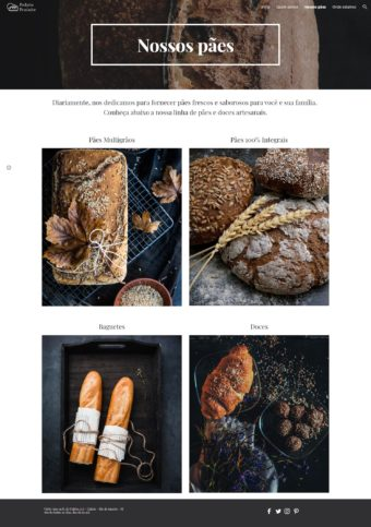 Página de produtos do site fictício da padaria