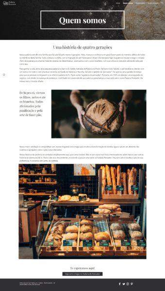 """Página """"Sobre"""" do site fictício da padaria"""