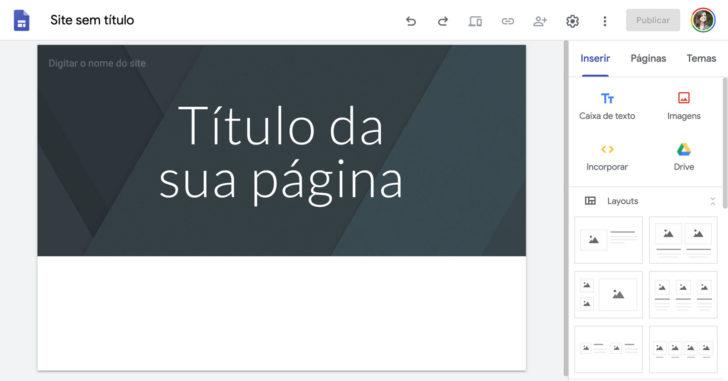 Editor do Google Sites com modelo em branco