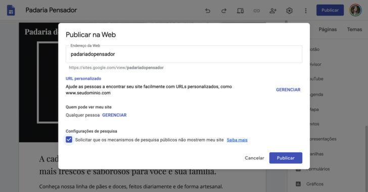 Configurações de publicação do Google Sites