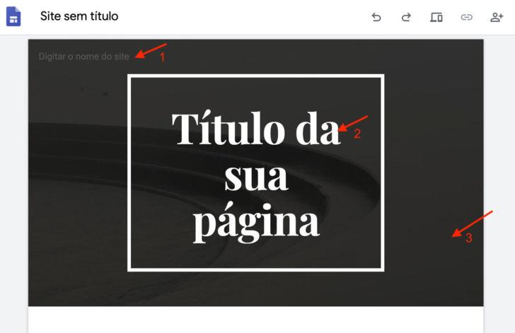 Vamos editar o nome do site, o título da página e a imagem do cabeçalho