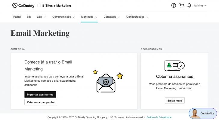Seção de email marketing - Imagem: painel GoDaddy