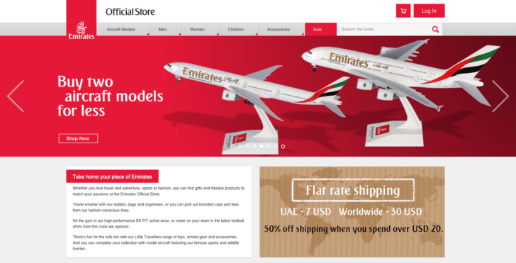 o e-commerce da Emirates é um exemplo de uso de novas extensões ao escolher um domínio para loja virtual