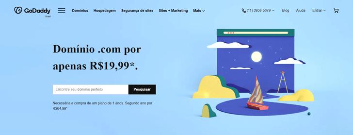 GoDaddy é uma das empresas com ofertas para o domínio .com