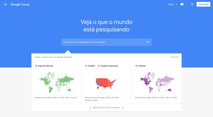 O Google Trends pode ser uma ótima ferramenta para ter ideias e escolher um domínio para loja virtual