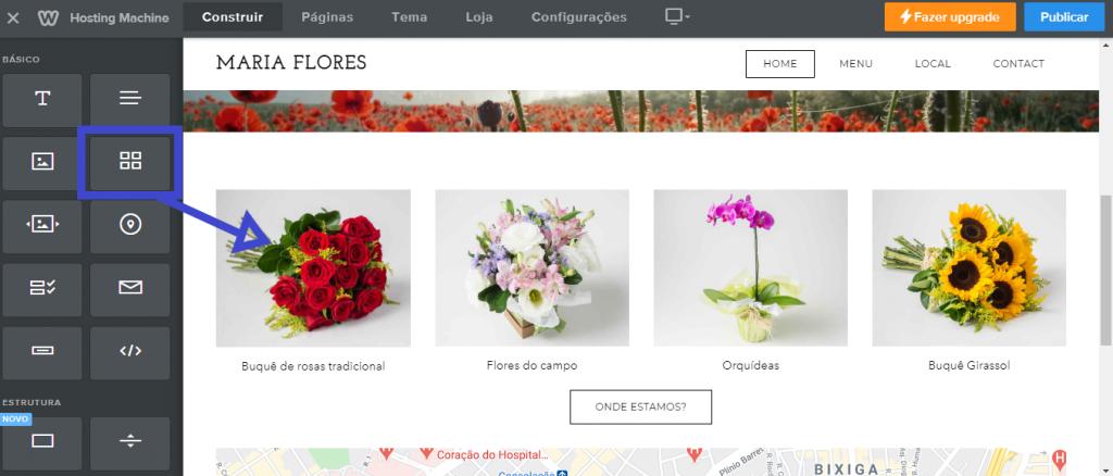 Como adicionar galeria ou outras imagens no criador de sites Weebly