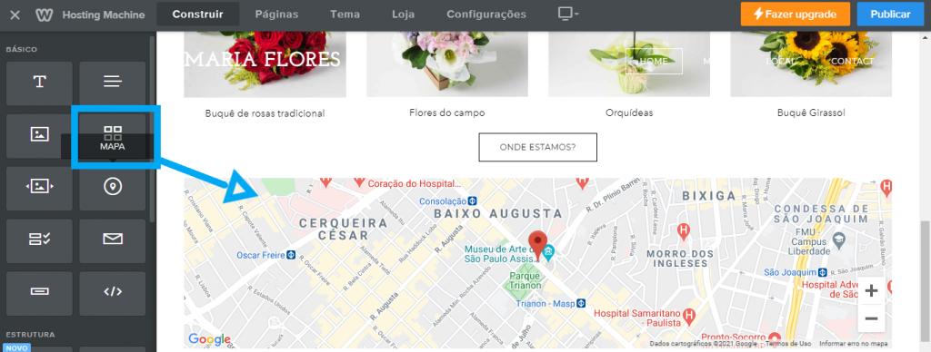 Inserir mapa no construtor de sites