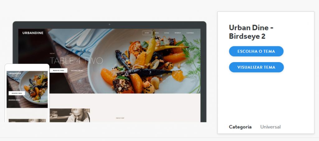 Criador de sites Weebly - Edição de tema