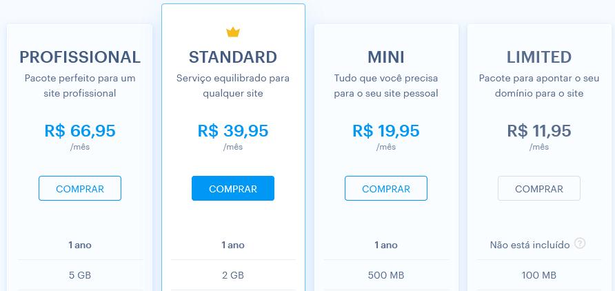 Planos premium no Webnode