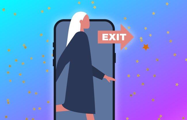 Ilustração de uma mulher com cabelo platinado saindo da tela do celular. À direita, temos uma placa de