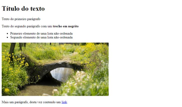 O HTML do exemplo anterior deve exibir uma página como essa ao ser lida pelo navegador