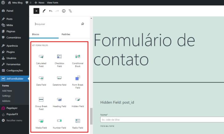 Os campos de formulário do JetFormBuilder estão disponíveis na lista de blocos do editor