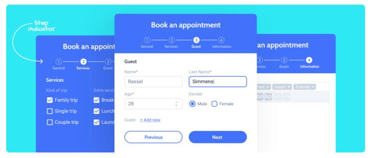 É possível criar formulários com etapas no JetFormBuilder