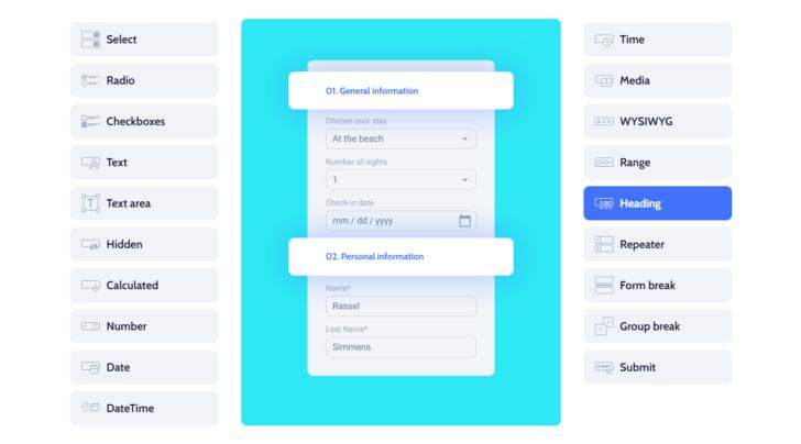 É possível inserir títulos e subtítulos para organizar as seções do formulário JetFormBuilder