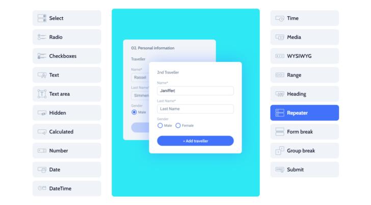 """A função """"repeater"""" permite ao usuário adicionar um grupo de campos ao preencher um formulário"""